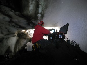 Aaron at work in Cathedral Cave last week. Photo: Nial Peters