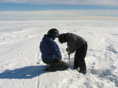 Drilling through a crack in the sea ice