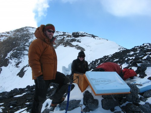 Seismic station on the Side Crater. From left: Nial Peters, Paige, Nels Iverson