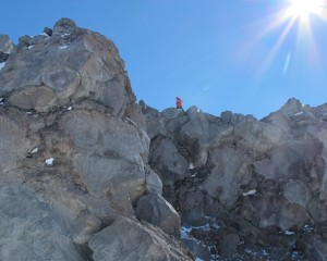 Taking GPS measurements on lava flows on the southwestern side of the caldera. Photo: Drea Killingsworth