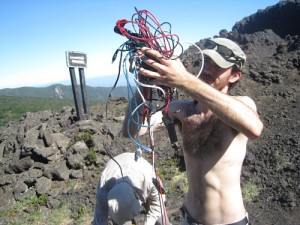 Yves with a mass of cables for setting up instrumets at Los Crateres