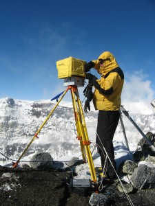 Jed with the Optech at the crater rim (December 2010)