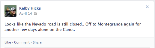Kelby's last post on his facebook page before heading to his field site on Colima volcano.