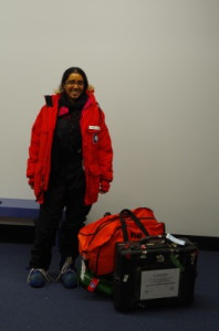 Clothing issue in Christchurch: The parka is called a 'Big Red' and identifies us quite clearly as being with the US Antarctic Program. Although other boots are available, I asked for the blue boots as I've used them before (in fact, I haven't used them since arriving in McMurdo). My favourite item is the wind pants, which are both comfortable and excellent against the wind.
