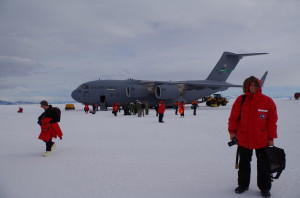 Disembarking the C-17 at Pegasus airfield. Those in red parkas are US Antarctic program participants; those in orange and black parkas are from Antarctica New Zealand, who share our flights
