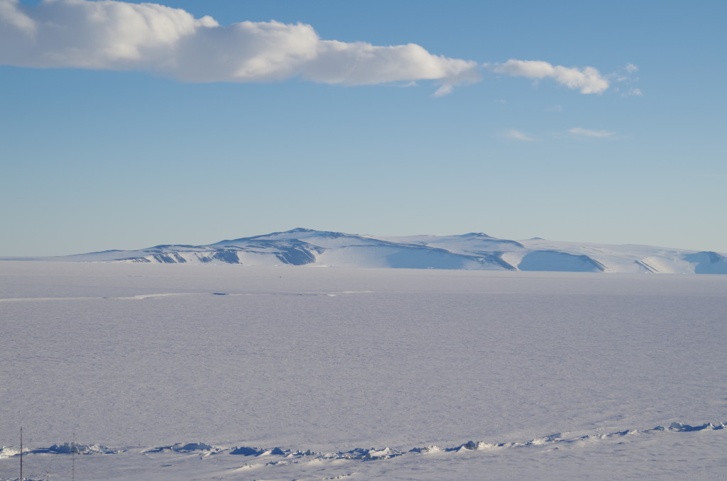 South from Scott Base - pressure ridges in the foreground, where sea ice and shelf ice meet; probably White Island in the background.