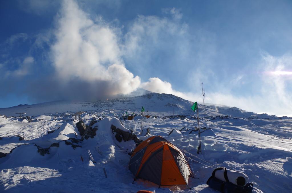 Our campsite at Lower Erebus Hut