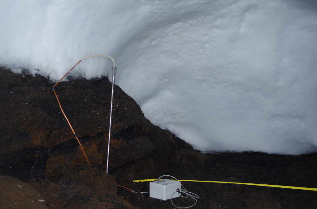 Soil probe with attached copper tubes and pump - the yellow tape is to lay out a grid for a different type of measurement with a CO2 flux meter.